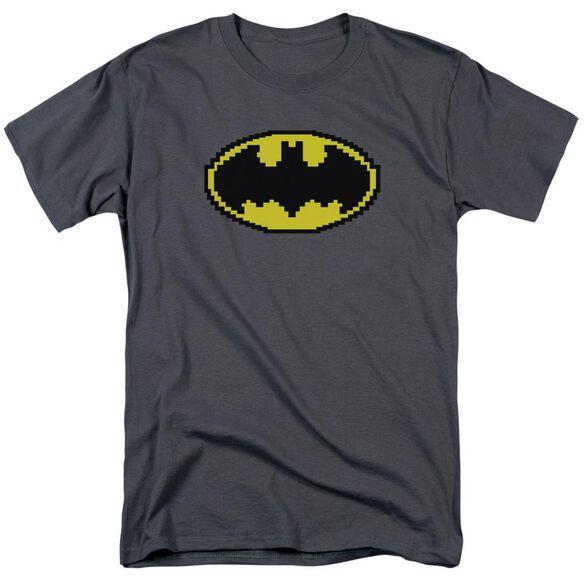 Batman Pixel Symbol Short Sleeve Adult Charcoal T-Shirt