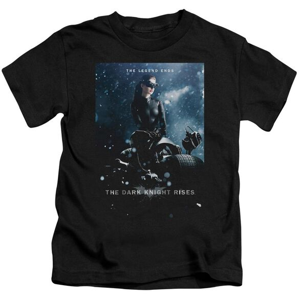 Dark Knight Rises Catwoman Poster Short Sleeve Juvenile Black T-Shirt