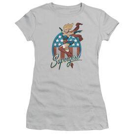 Jla Supergirl Bombshell Short Sleeve Junior Sheer T-Shirt
