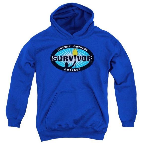 Survivor Blue Burst Youth Pull Over Hoodie