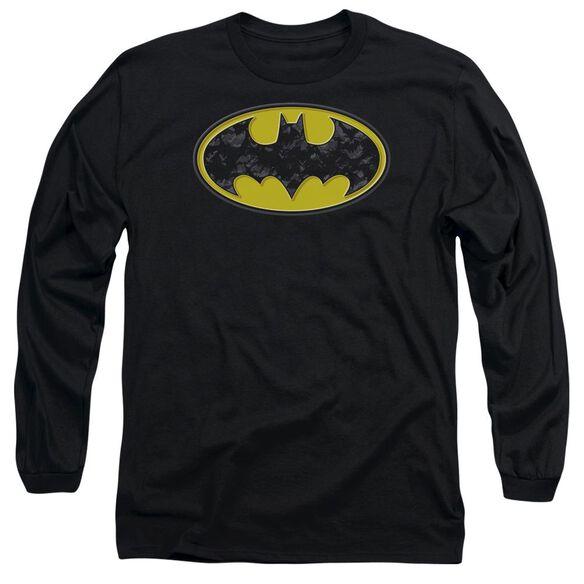 Batman Bats In Logo Long Sleeve Adult T-Shirt