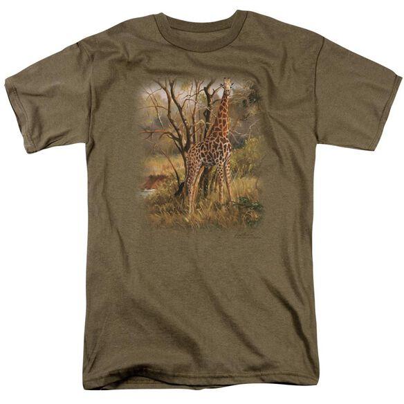 Wildlife Giraffe Short Sleeve Adult Safari Green T-Shirt