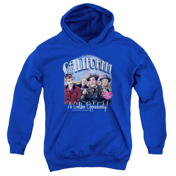 I Love Lucy Golden Opportunity Youth Pull Over Hoodie Royal