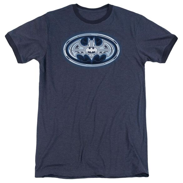 Batman Cyber Bat Shield Adult Heather Ringer Navy