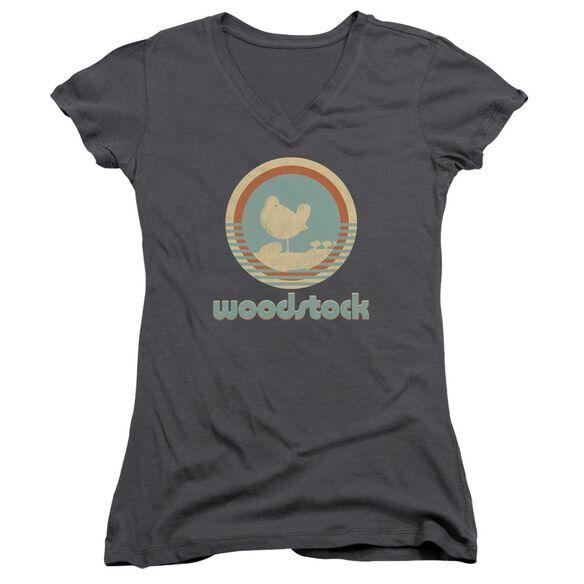 Woodstock Bird Circle Junior V Neck T-Shirt