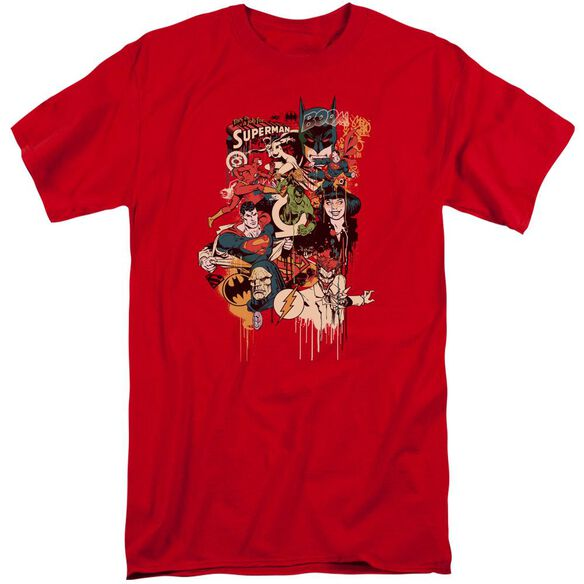 Dc Dripping Characters Short Sleeve Adult Tall T-Shirt