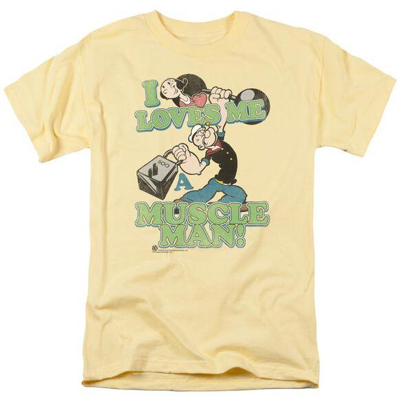 Popeye Muscle Man Short Sleeve Adult Banana T-Shirt
