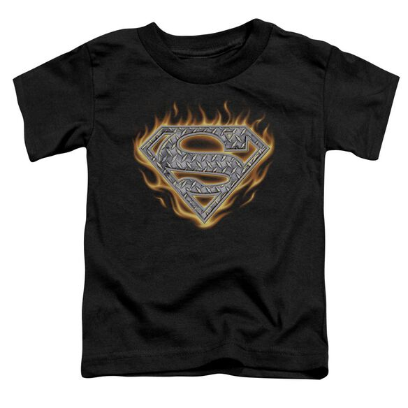 Superman Steel Fire Shield Short Sleeve Toddler Tee Black T-Shirt