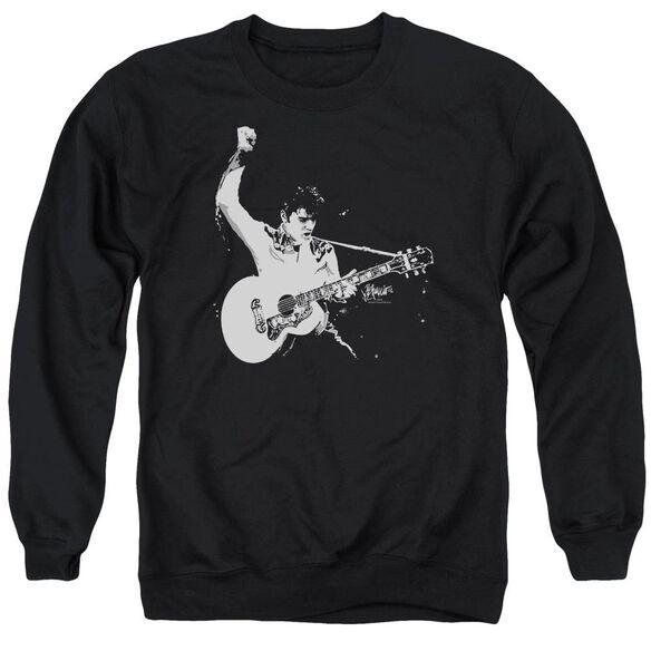 Elvis Black&Amp;White Guitarman Adult Crewneck Sweatshirt