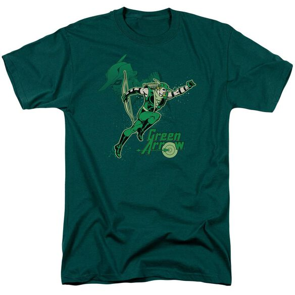 Dc Green Arrow In Action Short Sleeve Adult Hunter Green T-Shirt