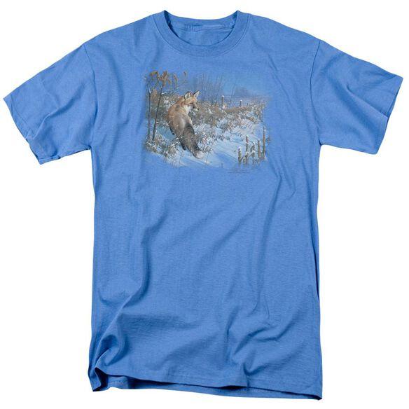 Wildlife Winter Red Fox Short Sleeve Adult Carolina Blue T-Shirt