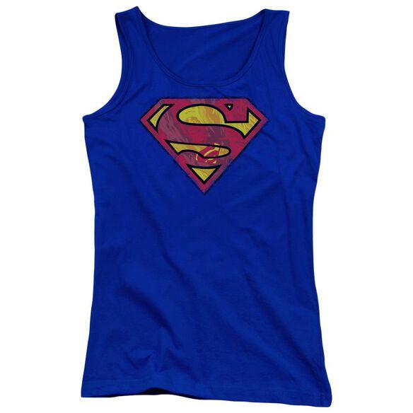Superman Action Shield Juniors Tank Top Royal