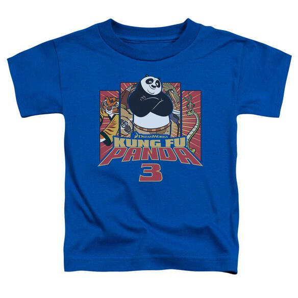 Kung Fu Panda Kung Furry Short Sleeve Toddler Tee Royal Blue T-Shirt