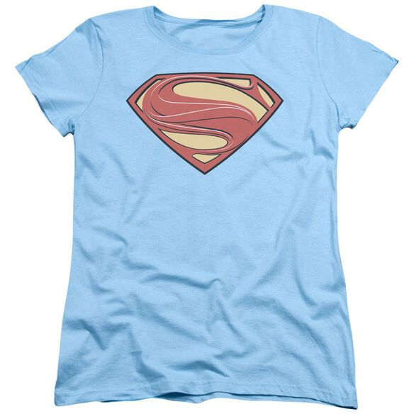 Man Of Steel New Solid Shield Short Sleeve Women's Tee Light T-Shirt