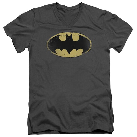 Batman Distressed Shield Short Sleeve Adult V Neck T-Shirt