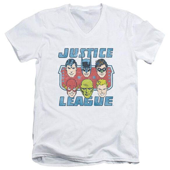 Dc Faces Of Justice Short Sleeve Adult V Neck T-Shirt