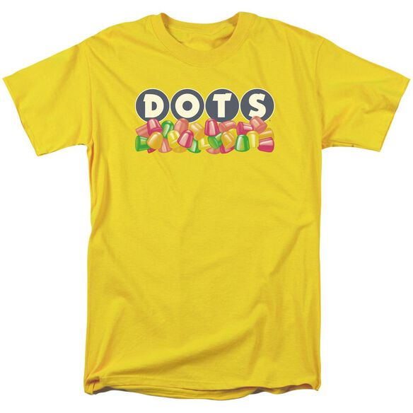 Tootsie Roll Dots Logo Short Sleeve Adult Yellow T-Shirt