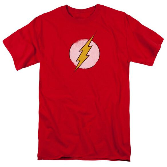 Dc Flash Rough Flash Logo Short Sleeve Adult Red T-Shirt