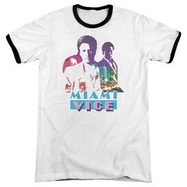 Miami Vice Crockett And Tubbs - Adult Ringer - White/black