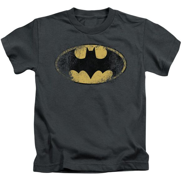 Batman Destroyed Logo Short Sleeve Juvenile Charcoal T-Shirt
