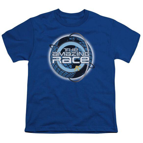 Amazing Race Around The Globe Short Sleeve Youth Royal T-Shirt