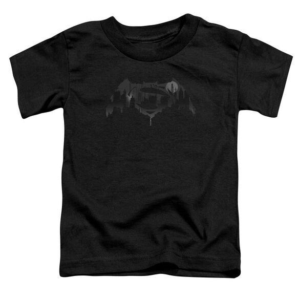 Batman V Superman Cityscape Logo Short Sleeve Toddler Tee Black T-Shirt