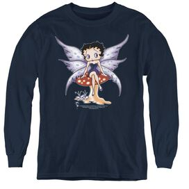 Betty Boop Mushroom Fairy - Youth Long Sleeve Tee - Navy