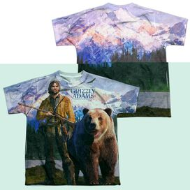 Grizzly Adams Man And Bear (Front Back Print) Short Sleeve Youth Poly Crew T-Shirt