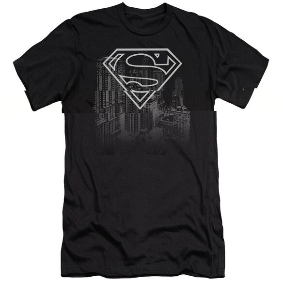 SUPERMAN SKYLINE - S/S ADULT 30/1 - BLACK T-Shirt