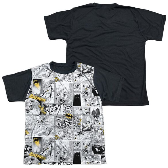 Batman Comic All Over Short Sleeve Youth Front Black Back T-Shirt