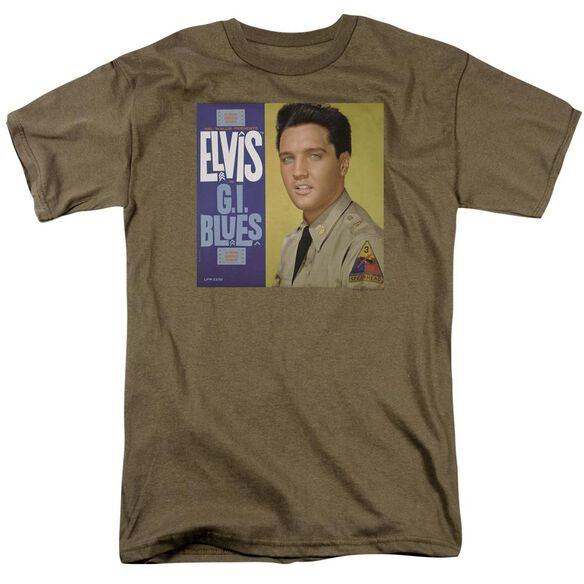 Elvis G I Blues Album Short Sleeve Adult Safari Green T-Shirt