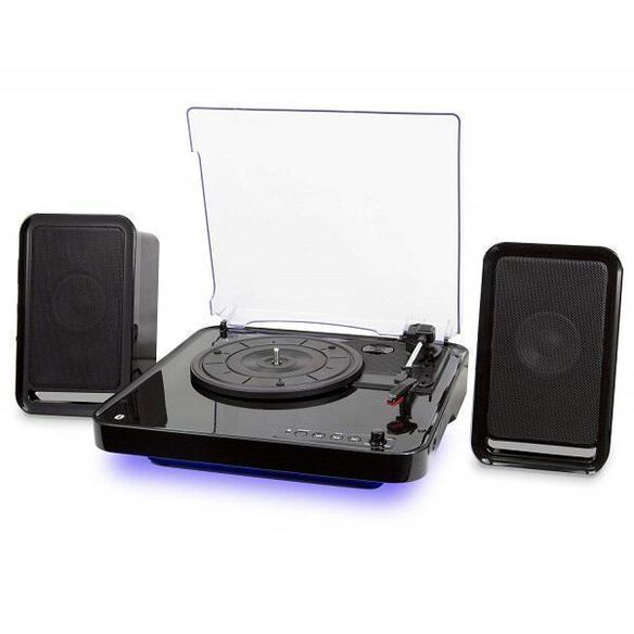 iLive iTTB757B Wireless Turntable with Speakers, LED Lighting (Black)