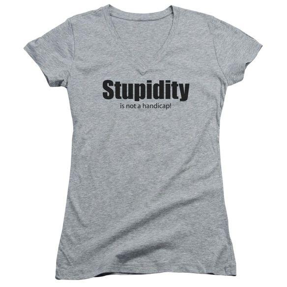 Stupidity - Junior V-neck - Athletic Heather