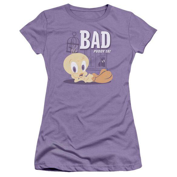 Looney Tunes Bad Puddy Tat Short Sleeve Junior Sheer T-Shirt