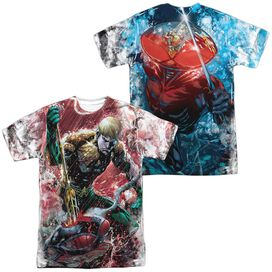 Jla Aquaman Vs Manta (Front Back Print) Short Sleeve Adult Poly Crew T-Shirt