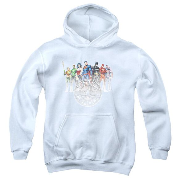 Jla Circle Crest Youth Pull Over Hoodie