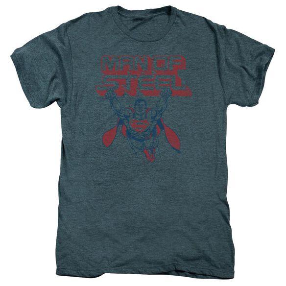 Superman Steel Retro Short Sleeve Adult Premium Tee Steel Blue T-Shirt
