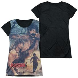 Rambo:First Blood Ii Bow Action Short Sleeve Junior Poly Black Back T-Shirt