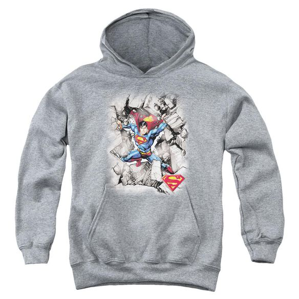 Superman Break Through Youth Pull Over Hoodie Athletic