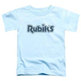 Rubik's Cube Rough Logo Short Sleeve Toddler Tee Light Blue T-Shirt