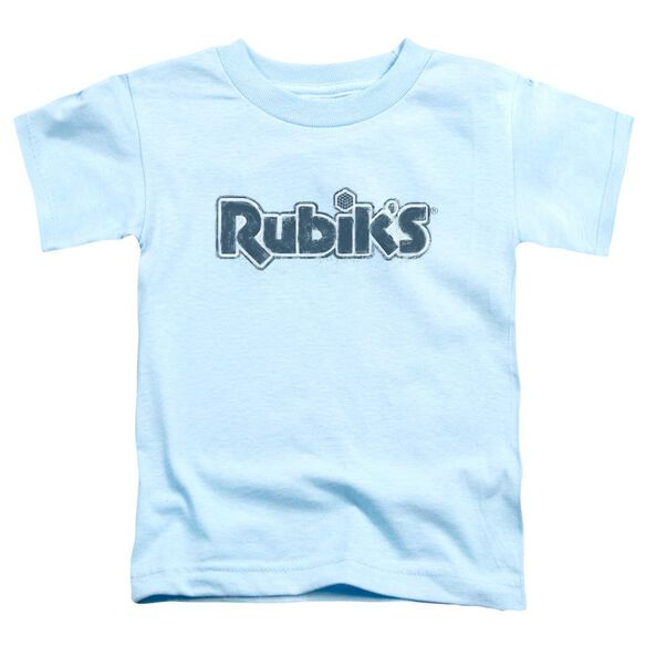 Rubik's Cube Rough Logo Short Sleeve Toddler Tee Light Blue T-Shirt