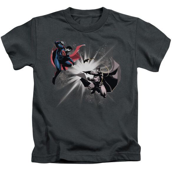 Batman V Superman Fight Burst Short Sleeve Juvenile Charcoal T-Shirt