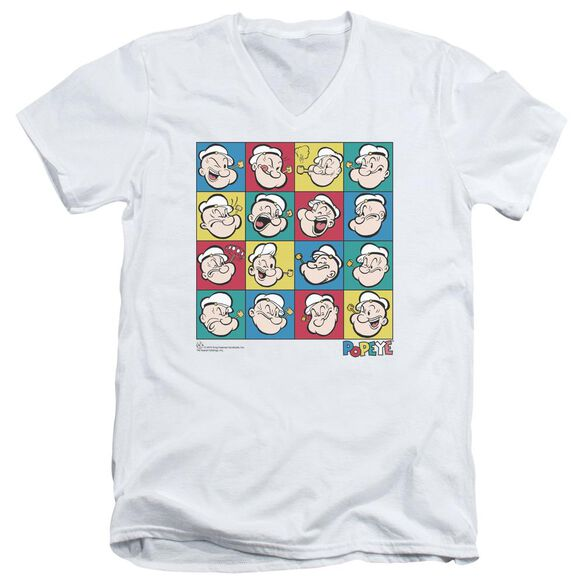 Popeye Color Block Short Sleeve Adult V Neck T-Shirt