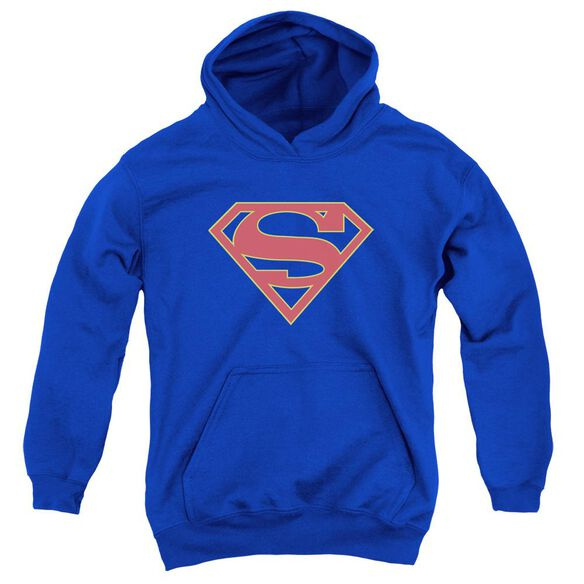 Supergirl Logo Youth Pull Over Hoodie Royal