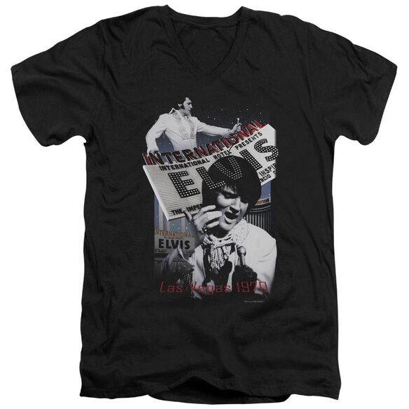 Elvis International Hotel Short Sleeve Adult V Neck T-Shirt