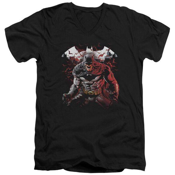 Batman Raging Bat Short Sleeve Adult V Neck T-Shirt