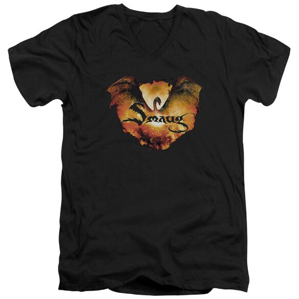 Hobbit Reign In Flame Short Sleeve Adult V Neck T-Shirt