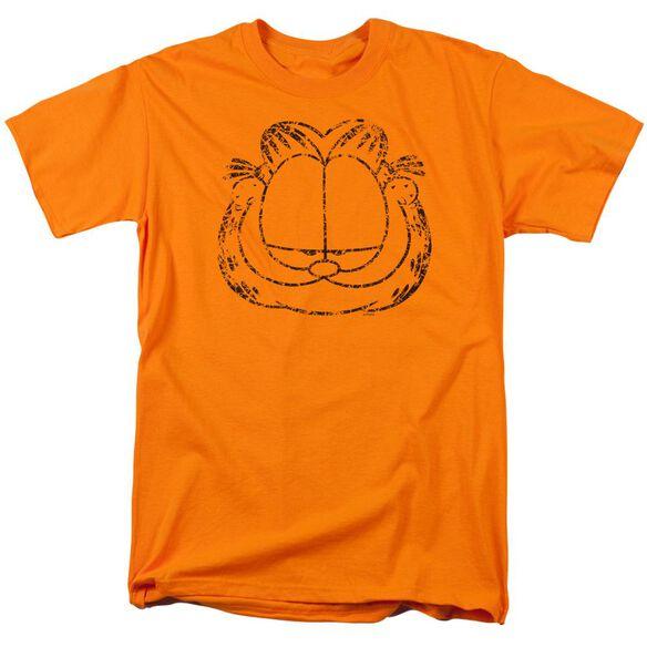 Garfield Smirking Distressed Short Sleeve Adult T-Shirt