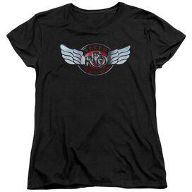 Reo Speedwagon Rendered Logo Short Sleeve Women's Tee Black T-Shirt