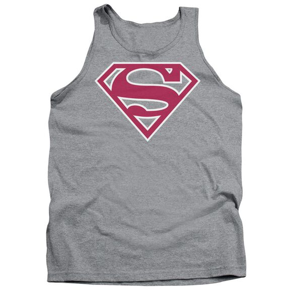 Superman Red & White Shield - Adult Tank - Athletic Heather